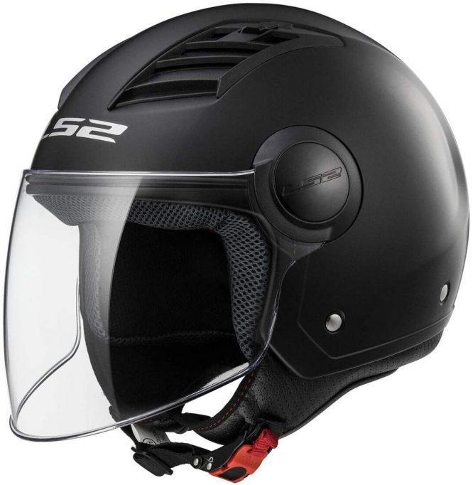 LS2 - Casco de moto Matt Black Long (negro mate) con circulación de aire, talla M. Código Of562-min